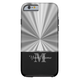 Silver faux metallic black monogram tough iPhone 6 case