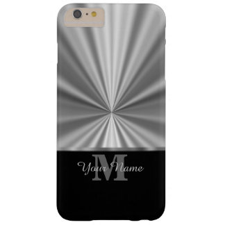 Silver faux metallic black monogram barely there iPhone 6 plus case