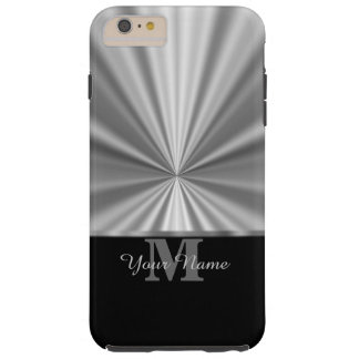 Silver faux metallic black monogram tough iPhone 6 plus case