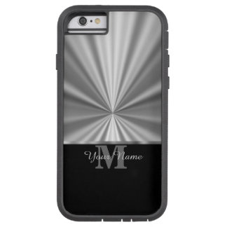 Silver faux metallic black monogram tough xtreme iPhone 6 case