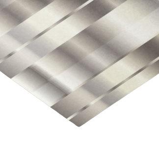 Silver Faux Metallic Diagonal Stripes Tissue Paper