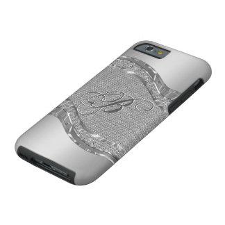 Silver Faux Metallic Look With Diamonds Pattern 2 Tough iPhone 6 Case