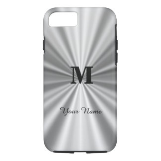 Silver faux metallic monogrammed iPhone 7 case