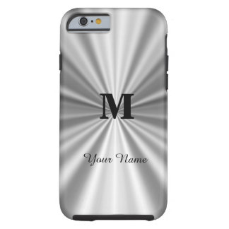 Silver faux metallic monogrammed tough iPhone 6 case