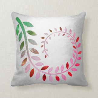 Silver Felice Leaf Gray Pink Green Botanical Cushion