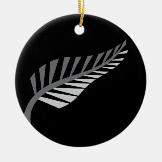 Silver Fern Awesome New Zealand image Ceramic Ornament