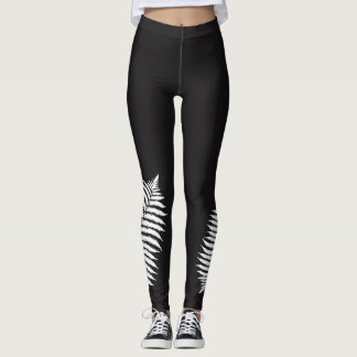 Silver Fern Black and White Leggings