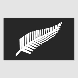 Silver Fern Flag of New Zealand Rectangular Sticker