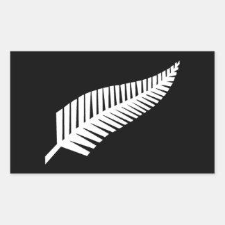 Silver Fern Flag of New Zealand Rectangular Sticker