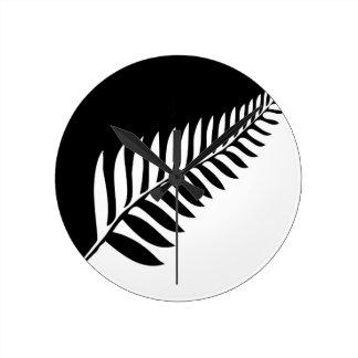 Silver Fern of New Zealand Round Clock