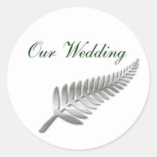 Silver Fern Wedding Envelope Seal Round Sticker