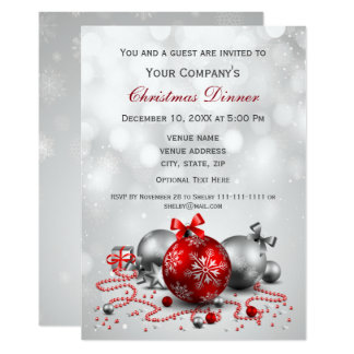 silver Festive Corporate Christmas party Invite