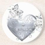 Silver Filigree Heart & White Roses