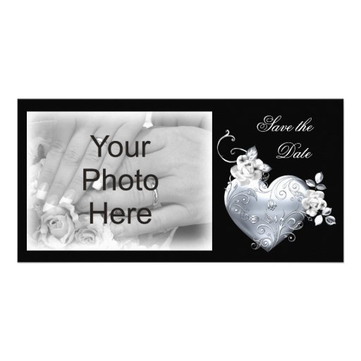 Silver Filigree Heart & White Roses Customised Photo Card