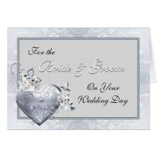 Silver Filigree Heart & White Roses Greeting Card
