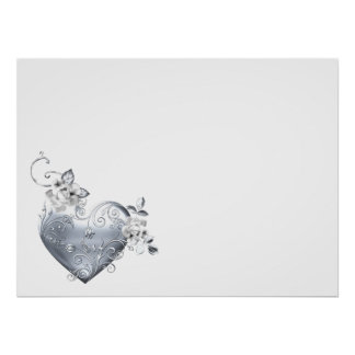Silver Filigree Heart & White Roses Poster