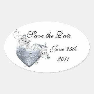 Silver Filigree Heart & White Roses Oval Sticker