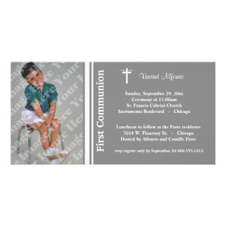 Silver First Communion Photo Invitation Picture Card