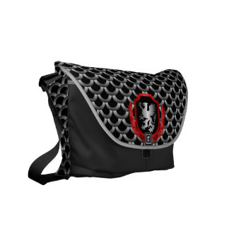 Silver Fish Scale Griffin Shield Messenger Bag