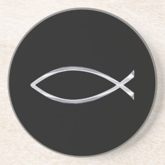 Silver Fish Symbol on Black Background Coaster