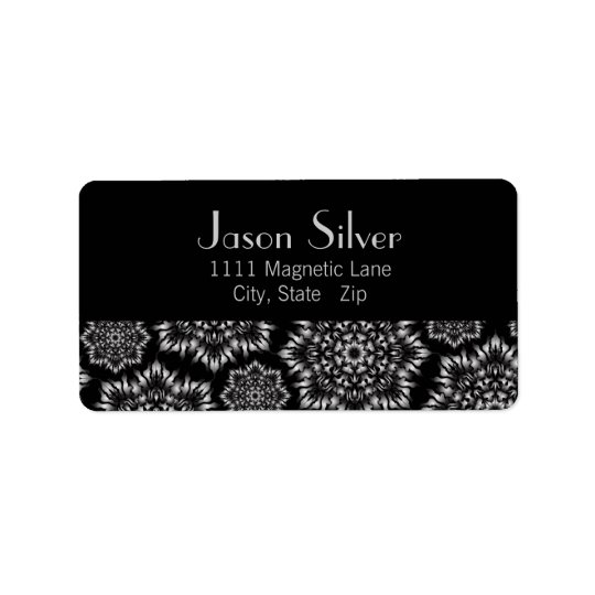 Silver Flame Black Address Labels