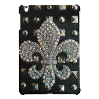 "SILVER ""FLEUR DE LIS"" BLACK STUD-LOOK PRINT iPad MINI COVERS"