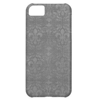 Silver Fleur De Lis Damask iPhone 5C Covers