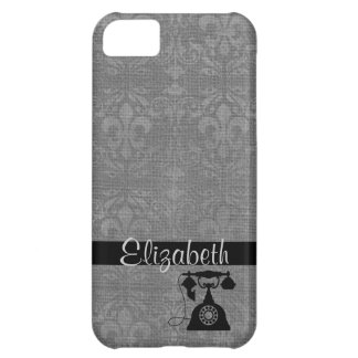 Silver Fleur De Lis Damask with Antique Telephone Cover For iPhone 5C