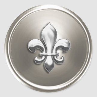 Silver Fleur de Lis Envelope Seal Embossed Look Round Sticker