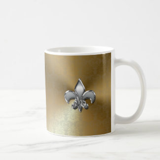 Silver Fleur-De-Lis on Gold Damask Basic White Mug