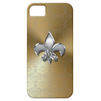 Silver Fleur-De-Lis on Gold Damask Case For The iPhone 5