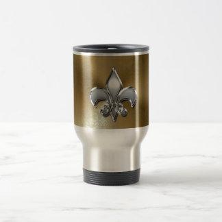 Silver Fleur-De-Lis on Gold Damask Stainless Steel Travel Mug