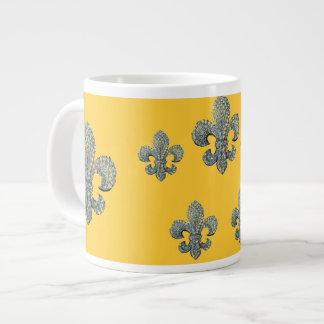 Silver Fleur de lis print jumbo mug