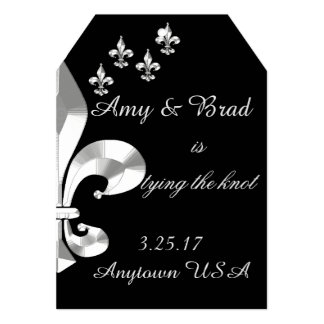 Silver Fleur de Lis Save the Date Card
