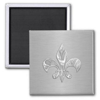 Silver Fleur de Lis Square Magnet
