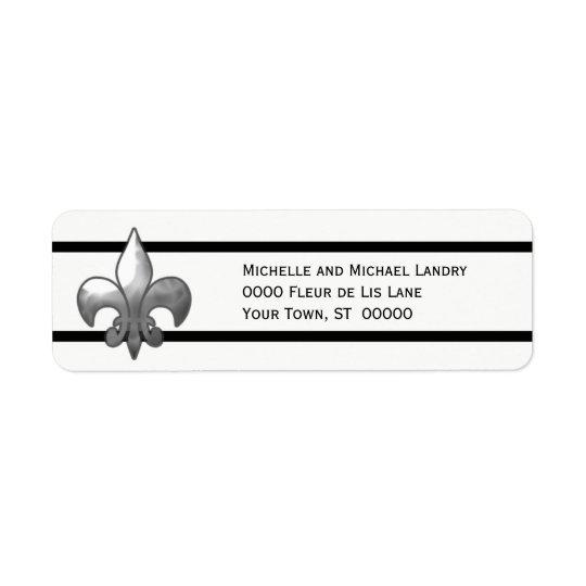Silver Fleur de Lis with Black Stripes Return Address Label