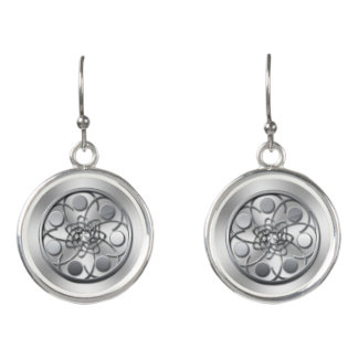 silver floral abstract drop earrings
