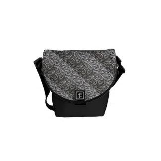 SILVER FLORAL DESIGN MESSENGER BAG