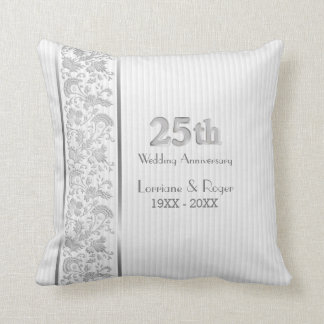 Silver Floral Elegance 25th Wedding Anniversary Throw Pillow