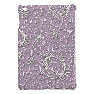 Silver Floral Hard Plastic Shell iPad Mini Case