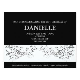 Silver Floral on Black Background Invitations