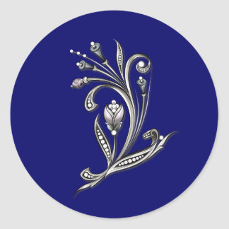 Silver Floral on Blue Wedding Envelope Seal Round Sticker