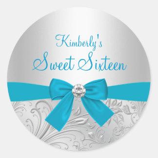 Silver Floral Swirl & Bow Sweet Sixteen Sticker