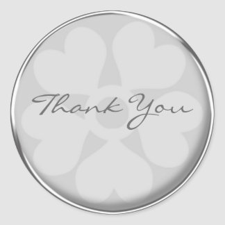 Silver Floral Thank You Stickers
