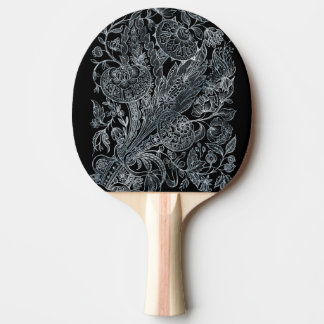 silver florals inlay style ping pong paddle