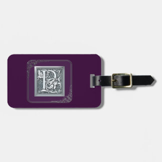 silver flourish monogram - P Luggage Tag