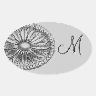 Silver Flower Medallion Monogram Oval Sticker