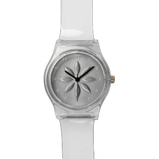 Silver flower watch