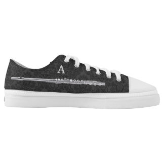 Silver Flute Custom Initial Black Damask Effect Low Tops