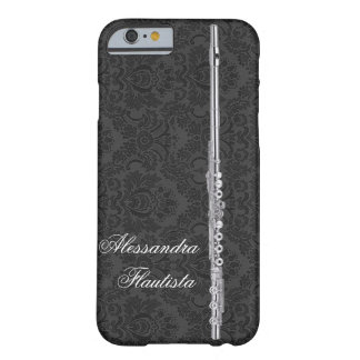 Silver Flute on Black Damask Effect Customizable Barely There iPhone 6 Case